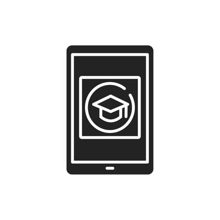 E-learning app in tablet black glyph icon. Online education website concept. Study program, courses app. User interface display. Sign for web page, mobile app, button, logo.