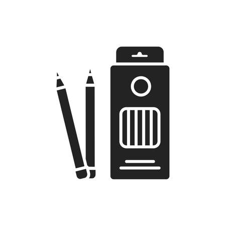Box colored pencils black glyph icon. Tools for drawing concept. School supplies. Sign for web page, mobile app, banner, social media.