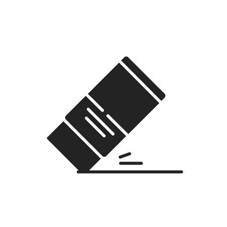 Eraser black glyph icon. Mistake removal tool concept. School, office supplies. Sign for web page, mobile app, banner, social media.