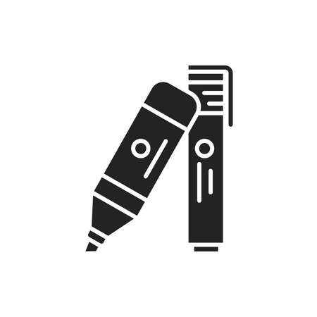 Felt-tip pens black glyph icon. Highlighters concept. School, office supplies. Sign for web page, mobile app, banner, social media 版權商用圖片 - 152424235