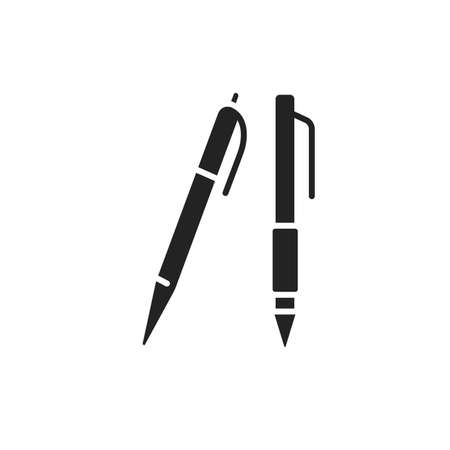 Detailed blue classic ballpoint pens black glyph icon. Stationery concept. School supplies. Sign for web page, mobile app, banner, social media.