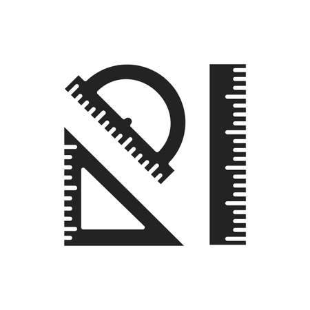 Rulers black glyph icon. Measuring tools: ruler, triangle, protractor. Correct form and sizes. School, office supplies. Sign for web page, mobile app, banner, social media.