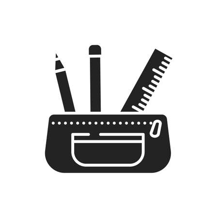 Open pencil case black glyph icon. Stationery concept. School supplies. Sign for web page, mobile app, banner, social media 版權商用圖片 - 152424285