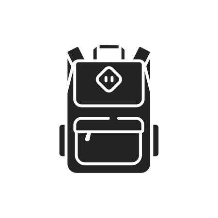 School bag glyph black icon. Urban backpack for teens and adults. School supplies. Sign for web page, mobile app, button, logo. Vector isolated button.