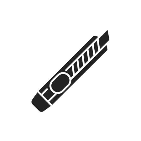 Box cutter black glyph icon. Stationery knife concept. School, office supplies. Sign for web page, mobile app, banner, social media