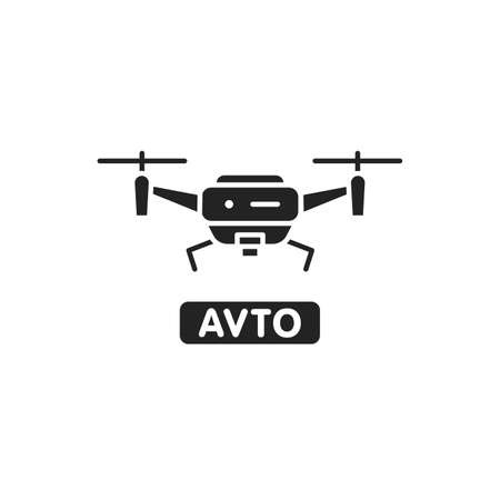 Drone automatic unmanned control black glyph icon. Aircraft device concept. Delivery service. Sign for web page, mobile app, banner, social media. 向量圖像