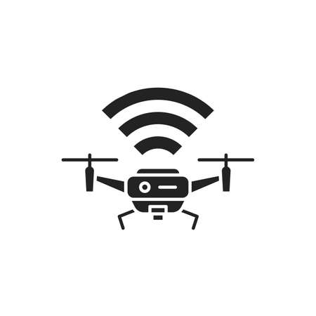 Drone quadrocopter with radio waves black glyph icon. Aircraft device concept. Unmanned control. Delivery service. Sign for web page, mobile app, banner, social media.