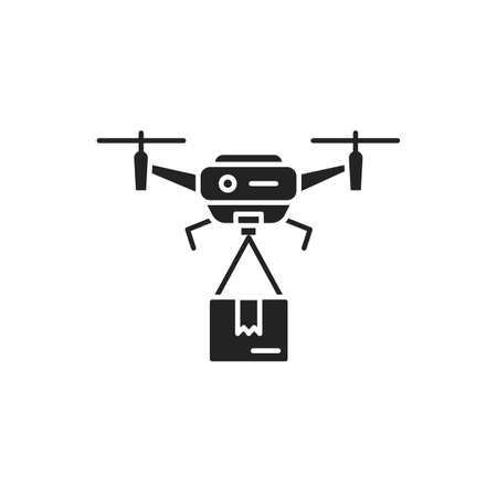 Drone delivery black glyph icon. Quadcopter carrying a package. Aircraft device concept. Sign for web page, mobile app, banner, social media. 版權商用圖片 - 152571547