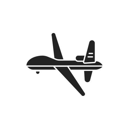 Military drone automatic unmanned control black glyph icon. Army aircraft for intelligence and attack template. Sign for web page, mobile app, banner, social media 向量圖像