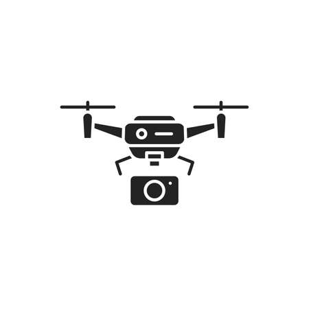 Drone with camera automatic unmanned control black glyph icon. Aircraft device concept. Video surveillance from a quadcopter, shots from a height. Sign for web page, mobile app, social media.