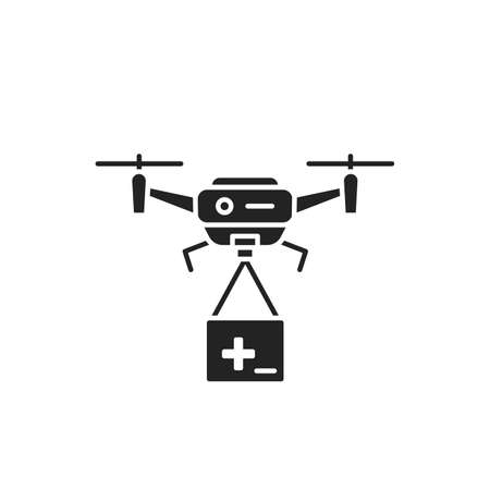 Drone medical help black glyph icon. Quadcopter carrying first aid. Aircraft device concept. Sign for web page, mobile app, banner, social media. 向量圖像