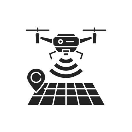Drone tracking black glyph icon. GPS navigation symbol. Interactive map and quadcopter. Aircraft device concept. Sign for web page, mobile app, banner, social media. 版權商用圖片 - 152571553
