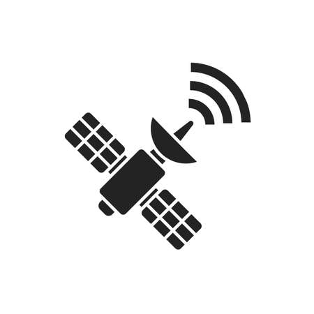 Satellite black glyph icon. Wireless communication equipment. Antenna transmits and receives a signal from space. Sign for web page, mobile app, banner, social media. 版權商用圖片 - 152471179