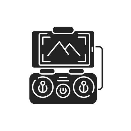 Drone control smartphone black glyph icon. Mobile app quadcopter remote control. Online service for autonomous drone logistics concept. UI UX screen.