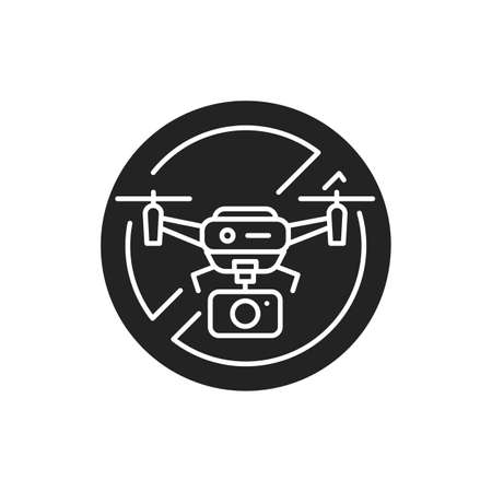 Quadcopter video prohibited black glyph icon. No drone zone. Aircraft device concept. Sign for web page, mobile app, banner, social media. 向量圖像