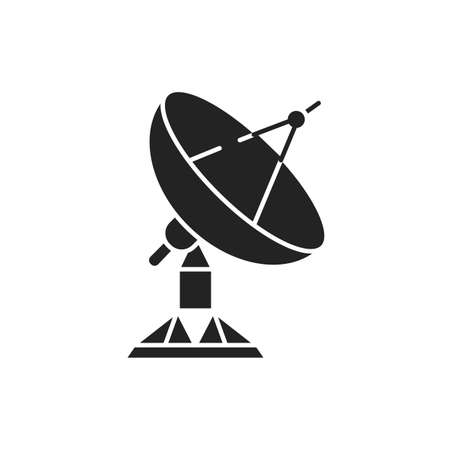 Radar satellite dish black glyph icon. Wireless communication equipment. Antenna transmits and receives a signal from space. Sign for web page, mobile app, banner, social media.