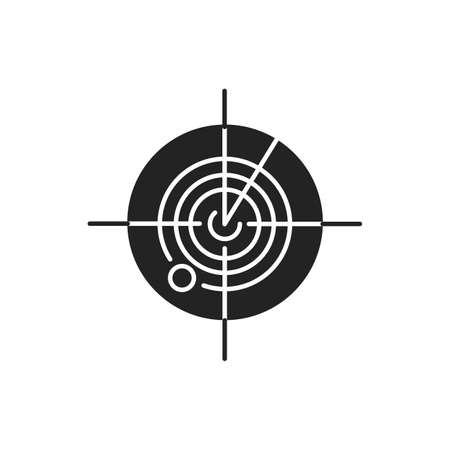 Radar black glyph icon. Marine or military radiolocating search system. Navy sonar. Detection screen. Location tracking. Sign for web page, mobile app, banner, social media.