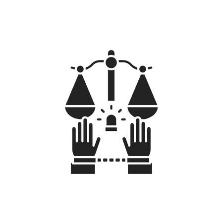 Criminal court glyph black icon. Convicted man in handcuffs concept. Law justice. Sign for web page, mobile app, button . Vector isolated button 版權商用圖片 - 152571557