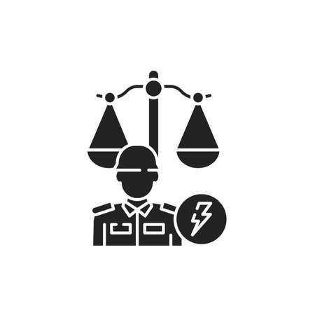 Military court glyph black icon. Judiciary concept. Officer in uniform element. Sign for web page, mobile app, button . Vector isolated button