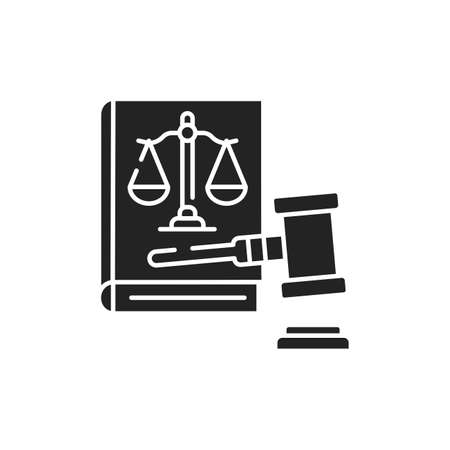 Lawsuit glyph black icon. Judiciary concept. Gavel, scales of justice on book element.