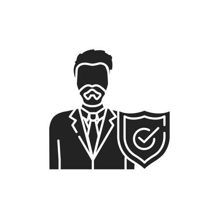 Lawyer with shield glyph black icon. Defendant defense. Courthouse concept. Law and justice profession. 版權商用圖片 - 152571639