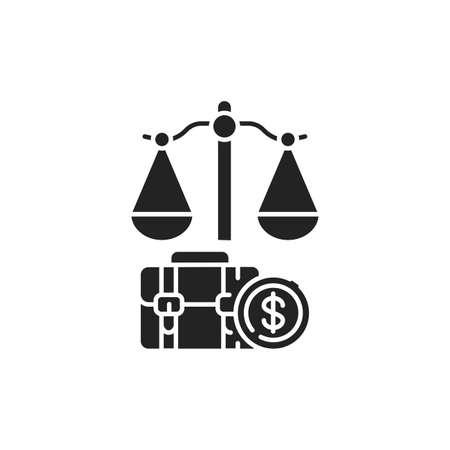 Arbitration court glyph black icon. Judiciary concept. Employment law element.