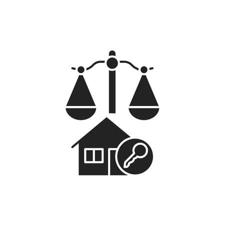 Arbitration court glyph black icon. Business property concept. Real estate law element. Sign for web page, mobile app, button