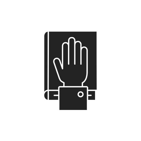 Give oath glyph black icon. Palm on Holy Bible. Judiciary concept. Sign for web page, mobile app, button 版權商用圖片 - 152571647