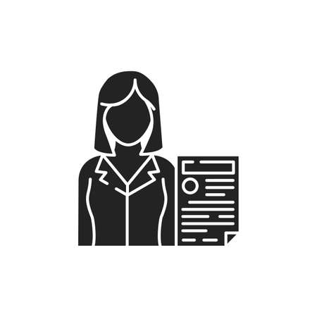 Prosecutor with document glyph black icon. Courthouse concept. Law and justice profession.