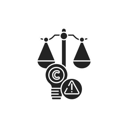 Arbitration court glyph black icon. Intellectual property infringement concept. Copyright law element. Sign for web page, mobile app, button 版權商用圖片 - 152571668