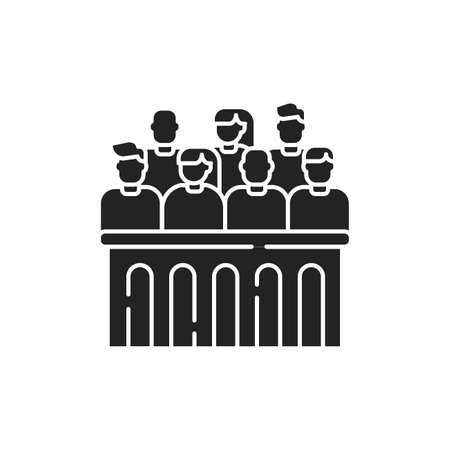 Jury trial glyph black icon. Courthouse concept. decision on a disputed issue in a civil or criminal case or an inquest.Sign for web page, mobile app, button. Vector isolated button