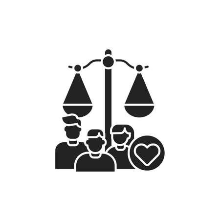 Family court glyph black icon. Judiciary concept. Child custody. 向量圖像