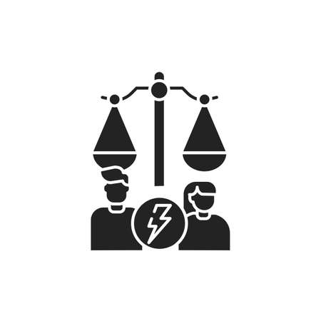 Divorce glyph black icon. Judiciary concept. Family law. Sign for web page, mobile app, button . Vector isolated button