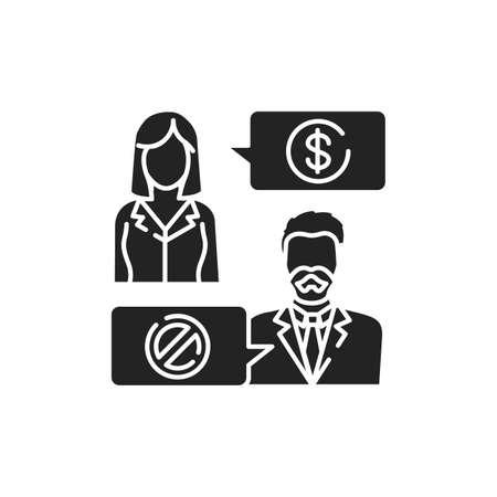 Refusal of a bribe glyph black icon. Business bribery and kickback corruption concept. 向量圖像
