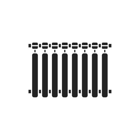 Aluminum battery black glyph icon on white background. Heat in the house. House temperature. Pictogram for web page, mobile app, promo. UI UX GUI design element.