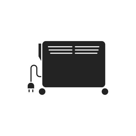 Heater black glyph icon. Heats the room, can be moved thanks to the wheels. Pictogram for web page, mobile app, promo. UI UX GUI design element