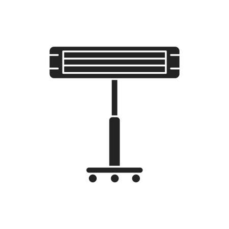 Infrared heater black glyph icon. Heats the room, standing on a metal stick. Pictogram for web page, mobile app, promo. UI UX GUI design element.