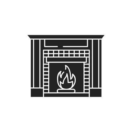 Fireplace black glyph icon. Structure made of brick, stone or metal designed to contain a fire. Used for the relaxing ambiance Pictogram for web page. UI UX GUI design element