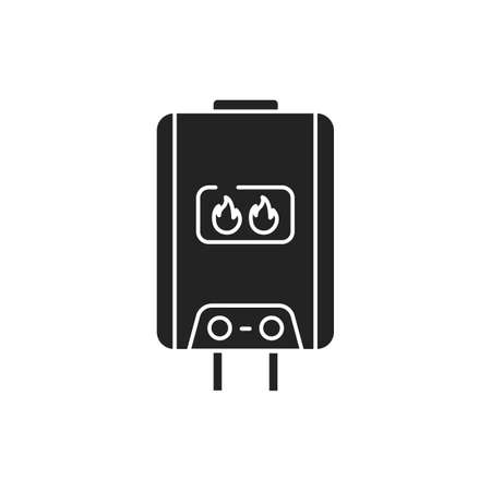 Gas water heater for home black glyph icon on white background. Home heating. Pictogram for web page, mobile app, promo. UI UX GUI design element Illustration