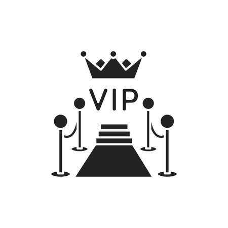 Red carpet glyph black icon. Ceremonial vip event. Sign for web page, mobile app, button . Vector isolated button Illusztráció