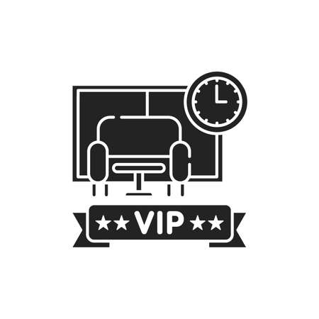 Vip lounge glyph black icon. Waiting room at the airport.