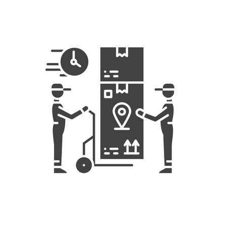 Oversized goods delivery black glyph icon. Services loaders sign. Loading and unloading operations. Sign for web page, app. UI UX GUI design element.