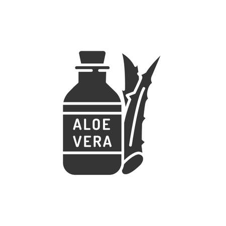 Aloe oil black glyph icon. Oil made from aloe. Viscous liquid. Moisturizes and nourishes the skin. Skincare. Also used for massage.