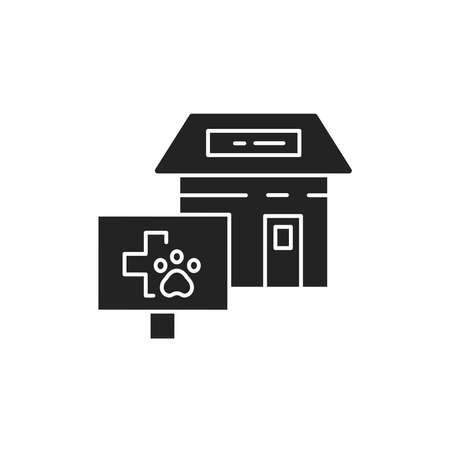 Veterinary clinic black glyph icon. Place where pets can get medical attention. Pictogram for web page, mobile app, promo. UI UX GUI design element