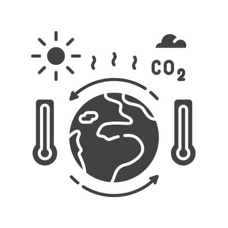Climate change black glyph icon. Environmental problems. Sign for web page, app. UI UX GUI design element