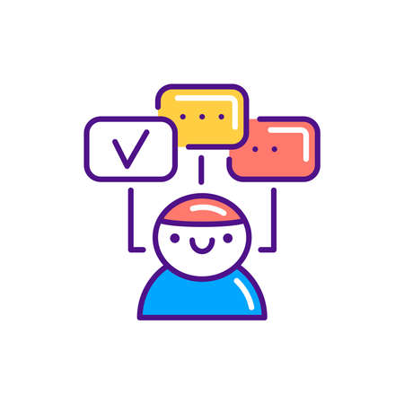 Multitasking color line icon. Soft skills. Pictogram for web, mobile app, promo. UI UX design element. Vectores