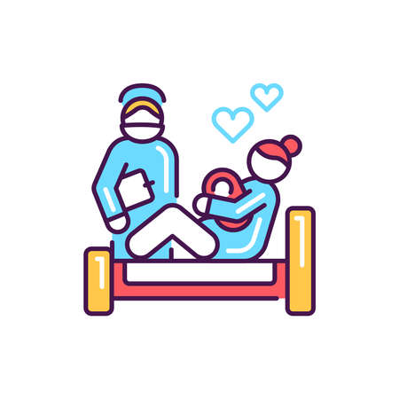 Birth of child color line icon. Pictogram for web, mobile app, promo. UI UX design element