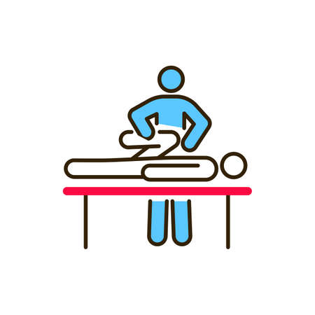 Manual therapy line color icon. Acupuncture, rehabilitation concept. Health medical treatment. 向量圖像