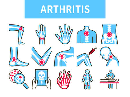 Arthritis human body line color icons set. Inflammation joints. Signs for web page, mobile app, button. Editable stroke
