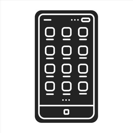 Mobile UI design black glyph icon. Process of making interfaces in software or computerized devices. Pictogram for web page, mobile app, promo. UI UX GUI design element.